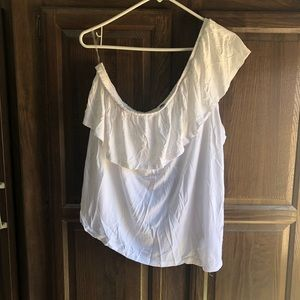 Sexy white on/off shoulder t
